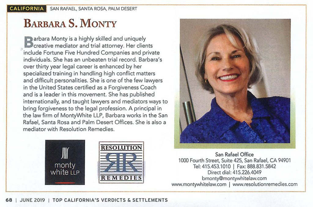 Barbara Monty in Verdict Search magazine.