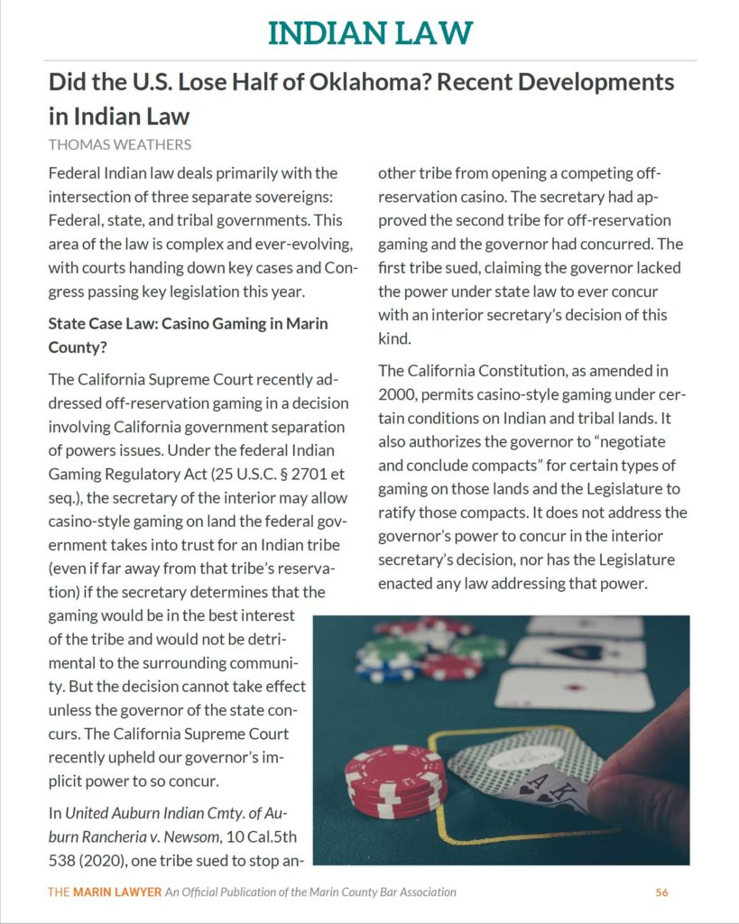 Indian Law by Tom Weathers